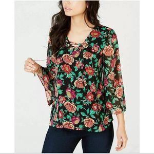 New Thalia Sodi floral print lace up blouse Lg
